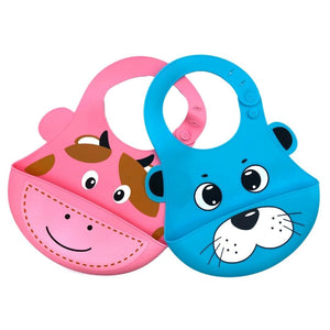 Baby Bibs Food Grade Silicone Rubber Pink Beaver & Blue Seal Design