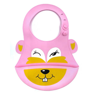 Baby Bibs Food Grade Silicone Rubber Pink Calf Design