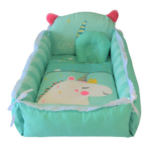 Baby Nest Bed Turquoise Unicorn Design - The Royal Kids