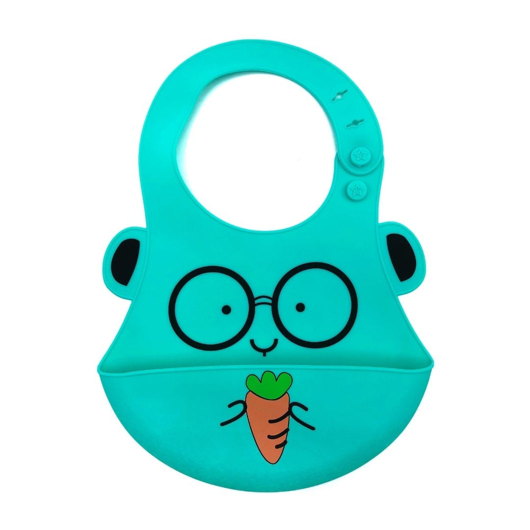 Baby Bibs Food Grade Silicone Rubber Teal Carrot Design