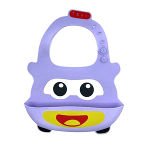 Baby Bibs Food Grade Silicone Rubber Purple Car Design