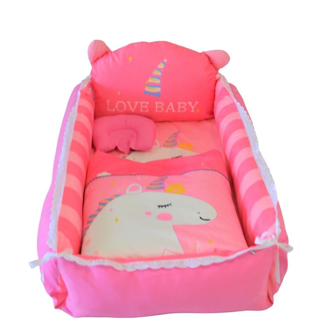 Baby Nest Bed Pink Unicorn Design - The Royal Kids