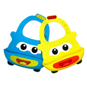 Baby Bibs Food Grade Silicone Rubber Blue & Yellow Car Design