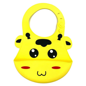 Baby Bibs Food Grade Silicone Rubber Yellow Cow Design