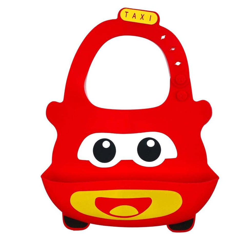 Baby Bibs Food Grade Silicone Rubber Red Car Design