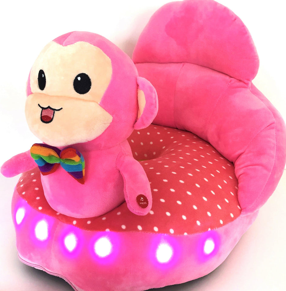 Plush chair pink monkey