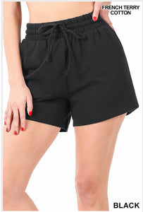 French Terry Cotton Drawstring Shorts