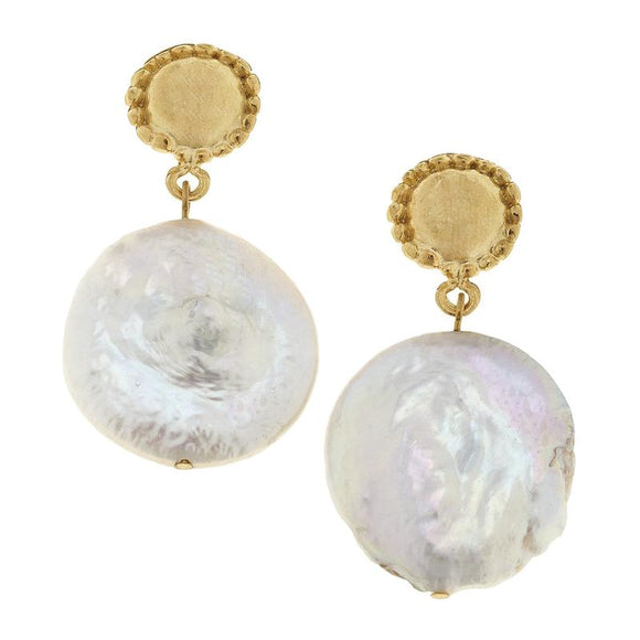 Susan Shaw Gold Coin Pearl Drop Earring