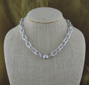 "16"" Silver Link Necklace with Magnetic Clasp"