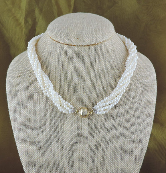 6 Strand Seed Pearl Necklace with Gold Magnetic Clasp
