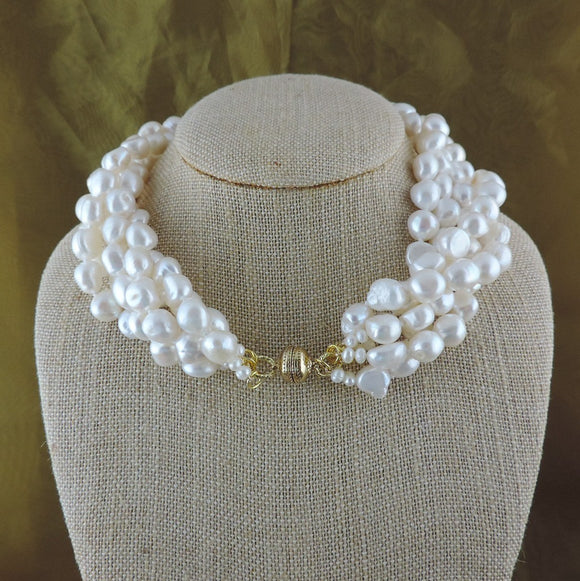 5 Strand Freshwater Pearl Necklace with Magnetic Clasp