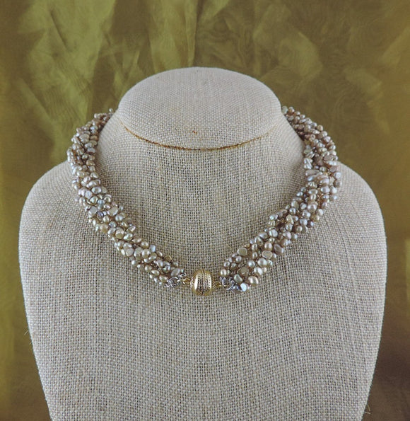 6 Strand Pearl Magnet Necklace