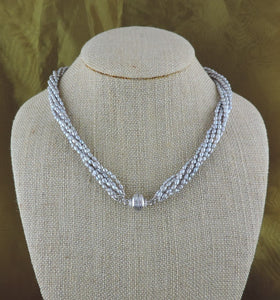 6 Strand Silver Seed Pearl Magnetic Necklace