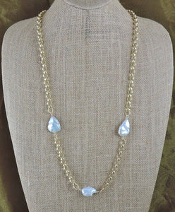 "36"" Gold Chain and Baroque Pearl Necklace"