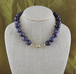 "16"" Faceted Amethyst Necklace with Magnetic Clasp"