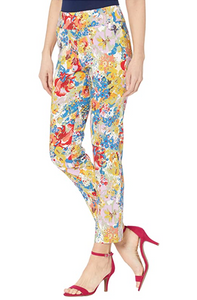 Krazy Larry Flora Print Pull On Ankle Pant