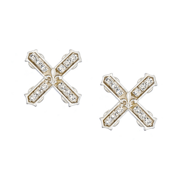 French Kande Petite Swarovski French Kiss Earrings - Silver