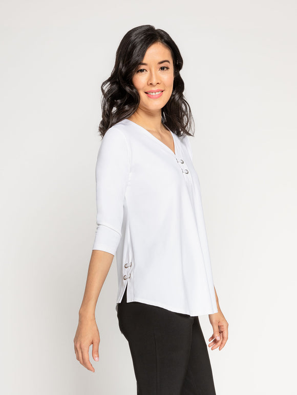 Sympli Halo Henley 3/4 sleeve top