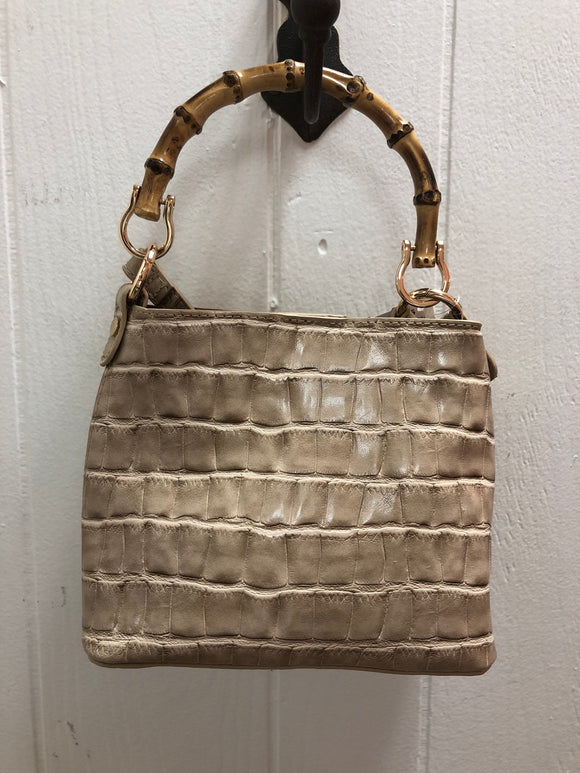 Bamboo Handle  Vegan Python Handbag