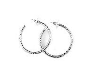"1.5"" hammered hoop earring"