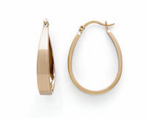Gold oval hoop ear