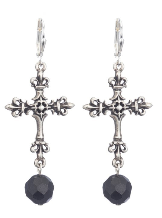 French Kande Onyx Cross Earring
