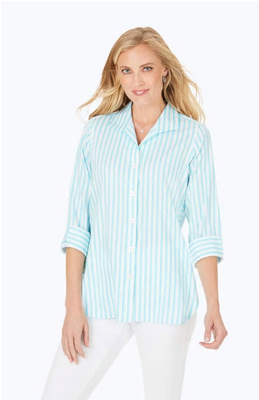 Foxcroft Pandora Non-Iron Striped Tunic