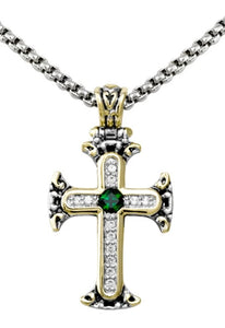 John Mederios Pave and Emerald Cross Necklace