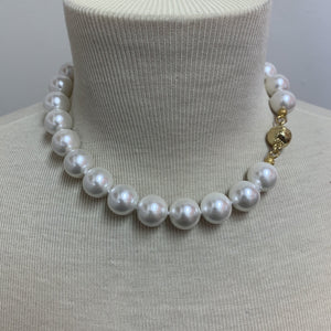 "16"" Pearl Necklace with Gold Magnetic Clasp"