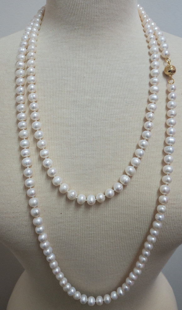 Long Pearl Necklace with Magnetic Clasp