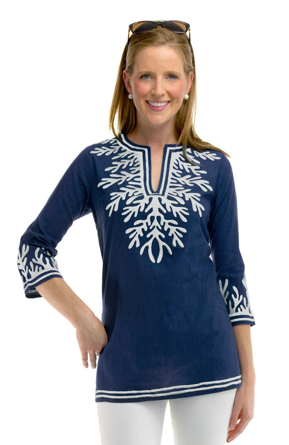 Gretchen Scott Embroidered Reef Cotton Tunic