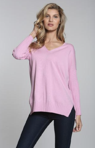 Long Sleeve V-neck ribbed sweater