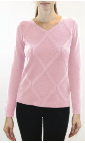 Vneck sweater with criss cross raised pattern