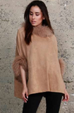 Suede Poncho with Fur trim