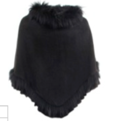 Triangle Faux Suede/Fur Poncho