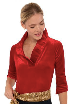 Gretchen Scott Velvet Ruffle Neck top