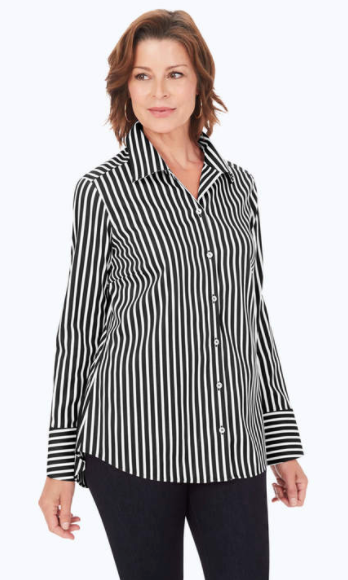 Foxcroft Wing Collar Long Sleeve Stripe Sateen Blouse