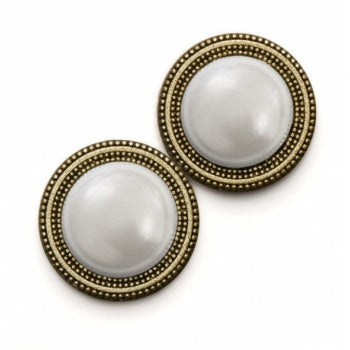 Magnetic Scarf Button - Pearl Dome in Gold Base