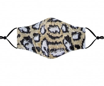 Sequin leopard cloth mask