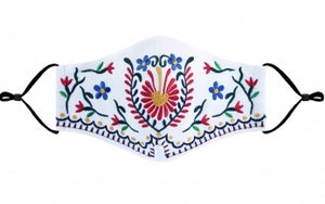 Embroidered white mask
