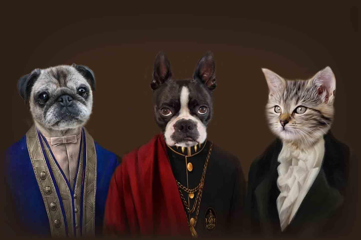 The Noble Trio - Custom Sibling Pet Portrait - NextGenPaws Pet Portraits