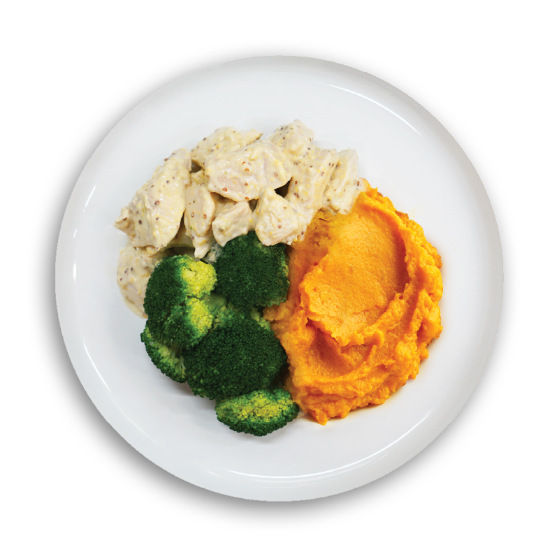 LARGE SWEET MUSTARD CHICKEN WITH PUMPKIN MASH AND BROCCOLI