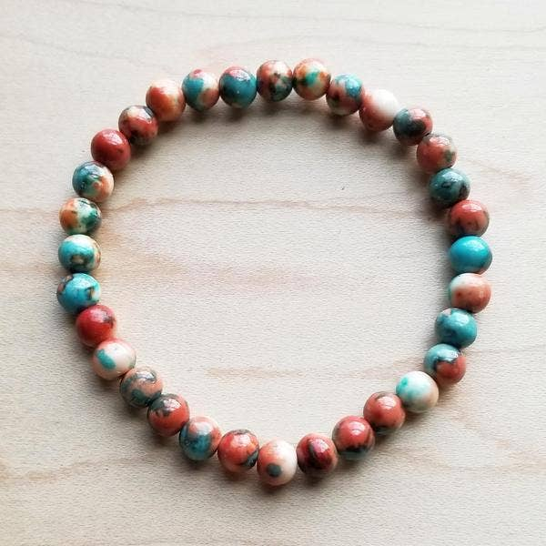 Multi-Colored Turquoise Stretch Beaded Bracelet