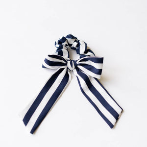 Striped Scrunchie with a Bow in Navy/White