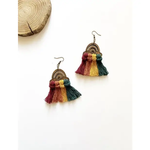 Rainbow Macrame Earrings