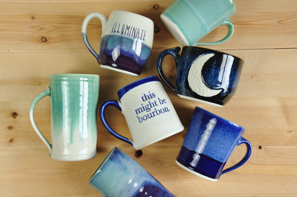 Handmade Ceramic Mugs. This Might Be Bourbon, Crescent Moon, Classic Mug, Kentucky Pottery