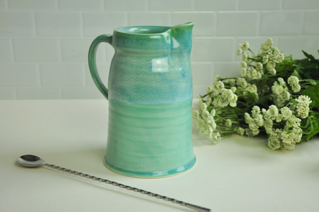 Handmade Ceramic Pitcher in teal. Kentucky Pottery