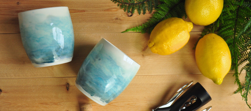 Handmade Wine Cups in Blue Watercolor Glaze. Kentucky Pottery