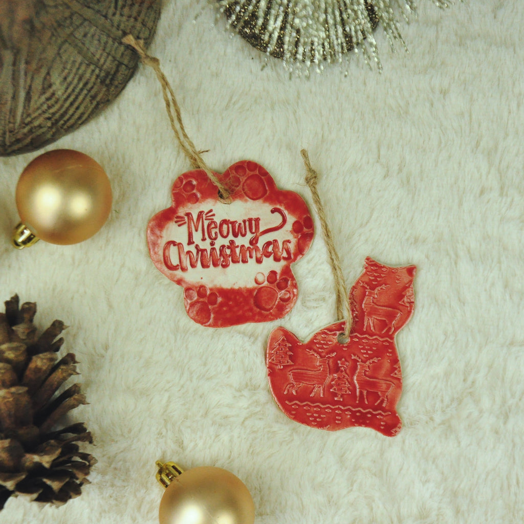 Meowy Christmas Ornaments, Set of Two