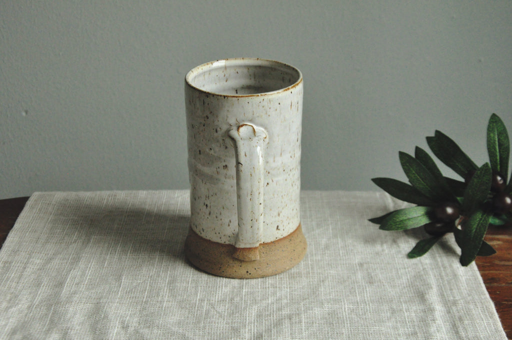 Large Handmade Mug - Speckled White Glaze on Stoneware - Farmhouse Style